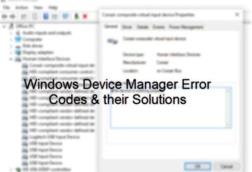 Device Manager Error Codes on Windows 10