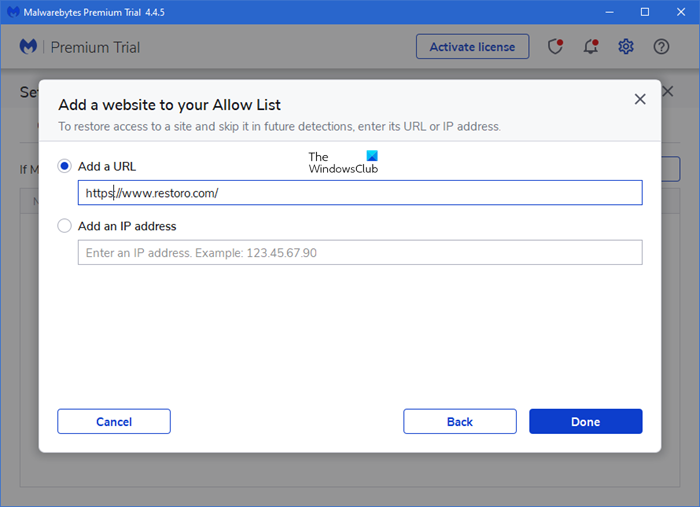How to add Website to Malwarebytes Exclusion List