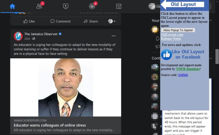 Switch back to the old Facebook layout