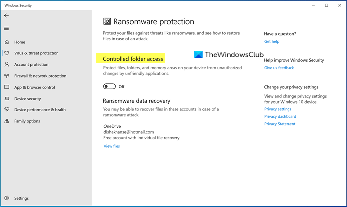 Ransomware Protection in Windows Defender