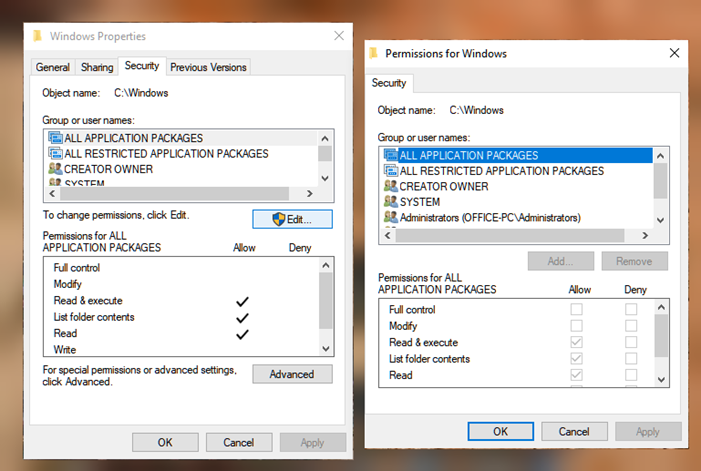 How to reset file & folder permissions to default in Windows
