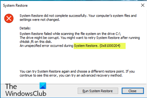 System Restore error 0x81000204