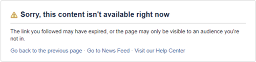 This content isnt available right now Facebook error