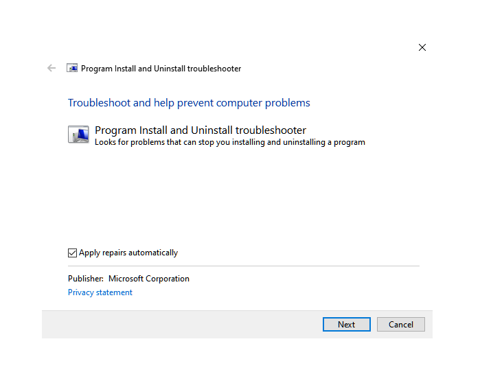 Uninstall Install troubleshooter