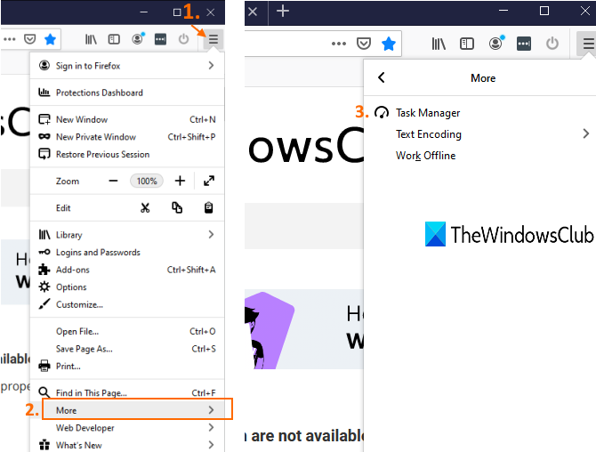 access Firefox menu and use Task Manager option