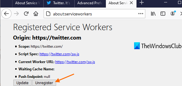 access about service workers page and press unregister