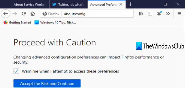 access configuration editor page of firefox