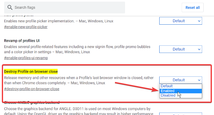 Enable Destroy Profile on Browser Close in Chrome