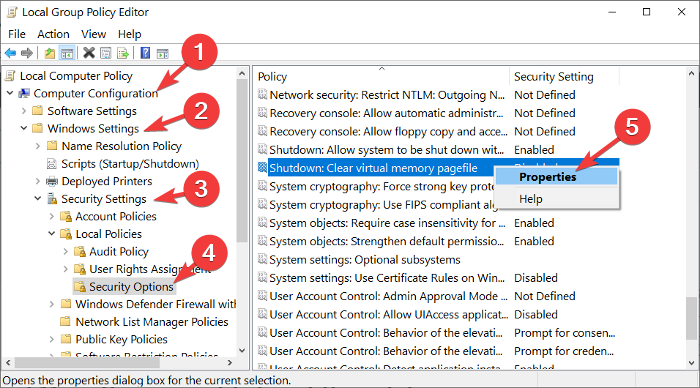 delete paging file on shutdown with group policy editor