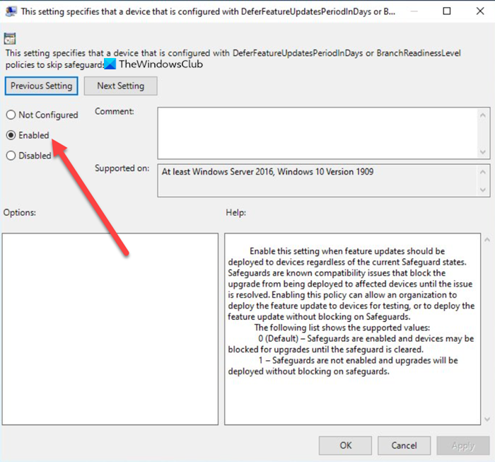 deploy Features Updates configured with Safeguard Group Policies