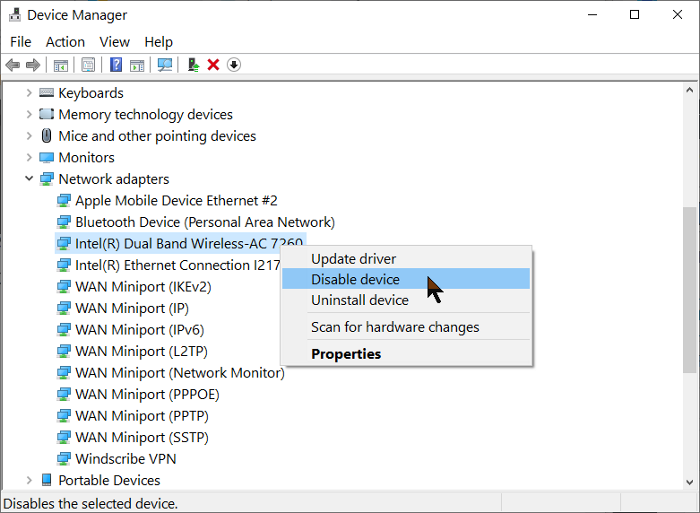 disable wireless adapter driver