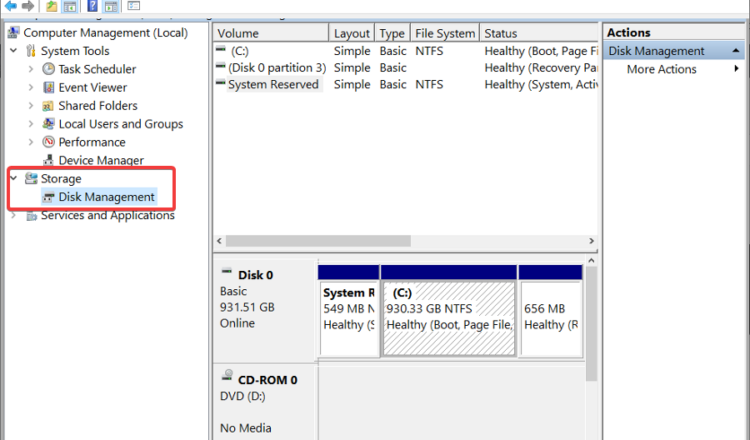 disk management tool to partition hard drive