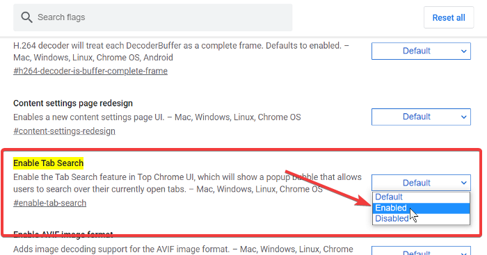 enable tab search feature chrome