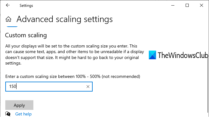 enter custom scaling size to fix desktop icons not moving problem