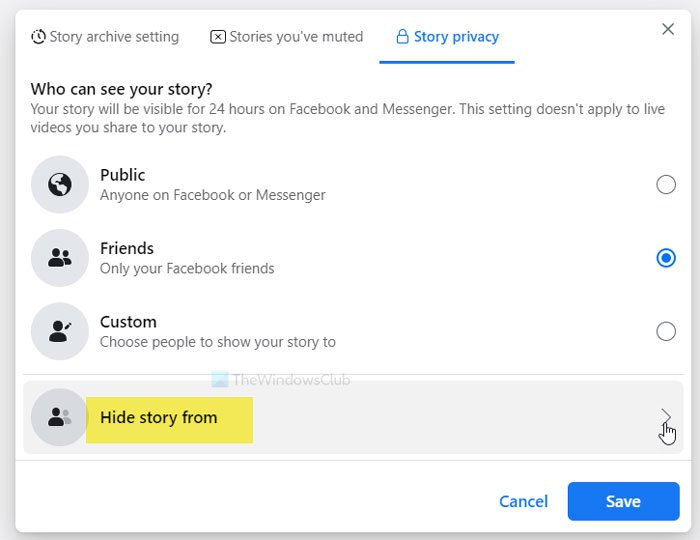 How to hide Facebook Stories from a specific person