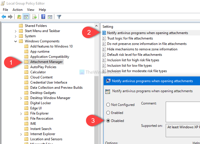 Stop Windows from notifying antivirus, when opening attachments