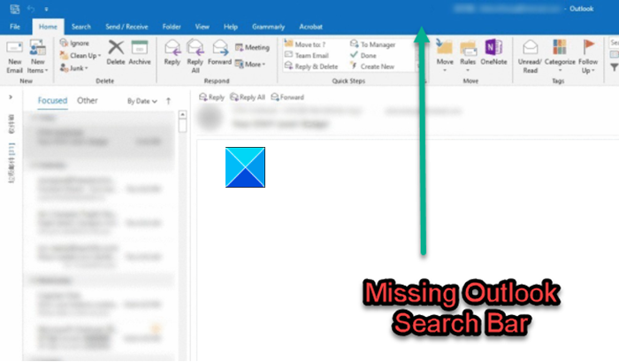 Outlook Search Bar Missing