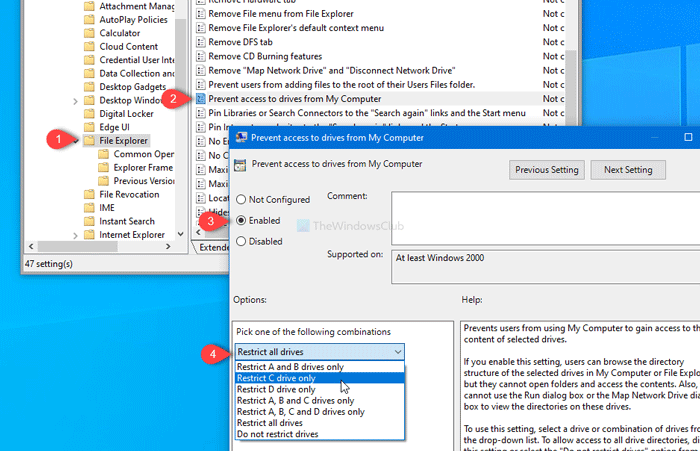 How to prevent users from accessing drives in This PC