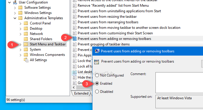 Prevent users from adding, removing, and adjusting Toolbars