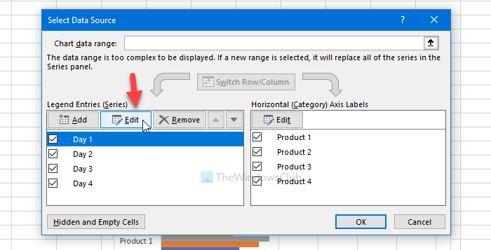 How to rename or edit data series name in Microsoft Excel