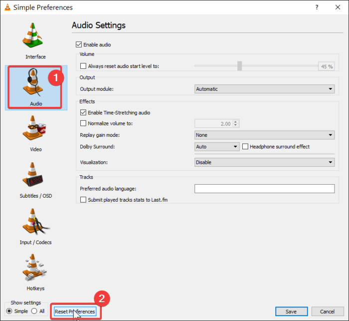 reset vlc audio preferences