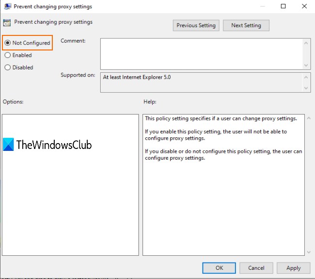 select not configured or disabled and save