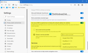 How to set and alternate secure DNS provider in Edge