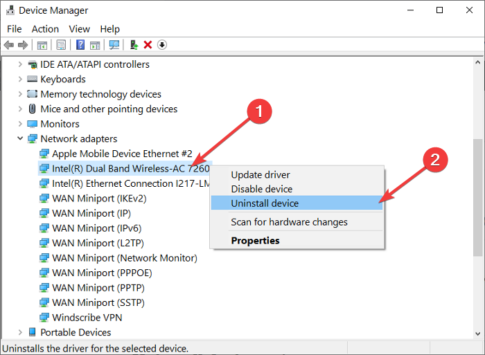 uninstall wireless adapter driver
