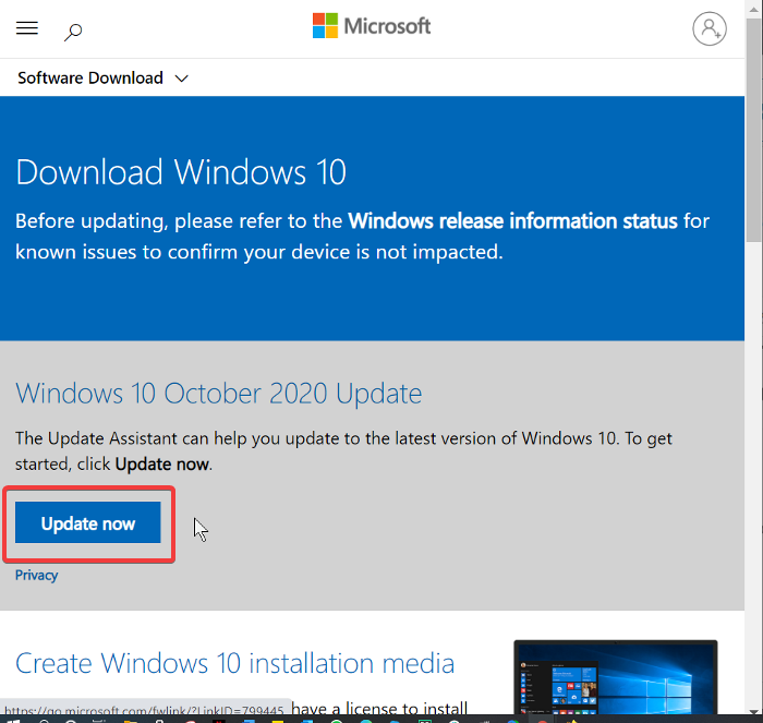 update now from windows software download page