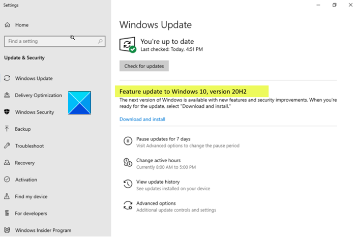 Windows 10 version 20H2 - New Features