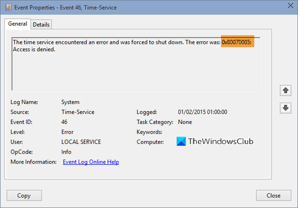 The Time service encountered and was forced to shut down, Error 0x80070005