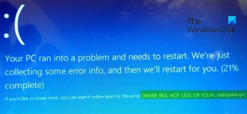 DRIVER_IRQL_NOT_LESS_OR_EQUAL (ndistpr64.sys) Blue Screen error