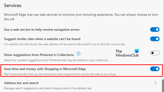 Enable or Disable Online Shopping feature in Microsoft Edge