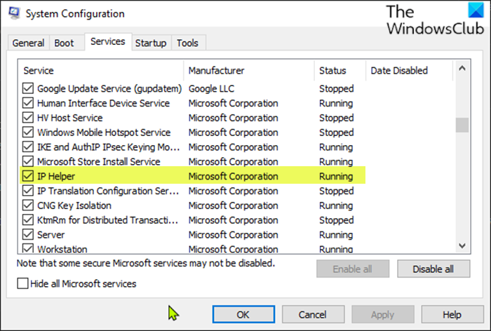 Enable or disable IP Helper Service-System Configuration