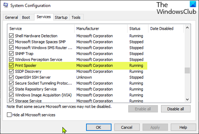 Enable or disable the Print Spooler Service-System Configuration