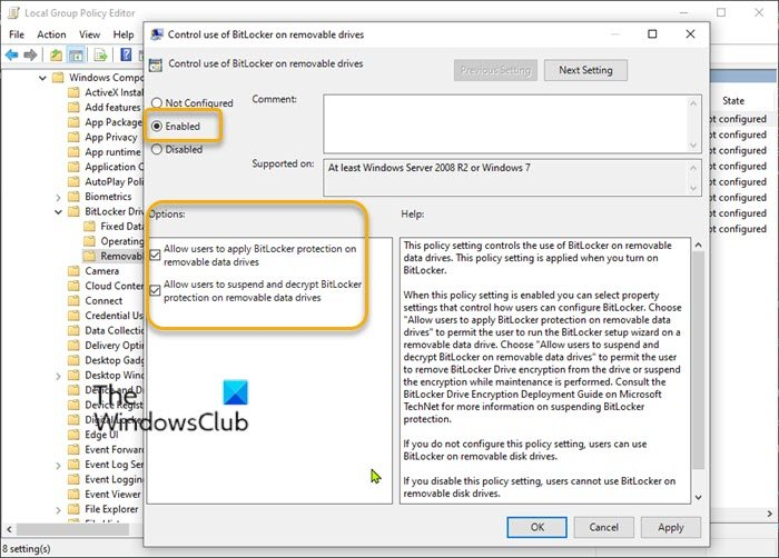 Enable or disable use of BitLocker on Removable Data Drives-Group Policy Editor
