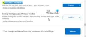 Hide Title Bar with Vertical Tabs in Microsoft Edge