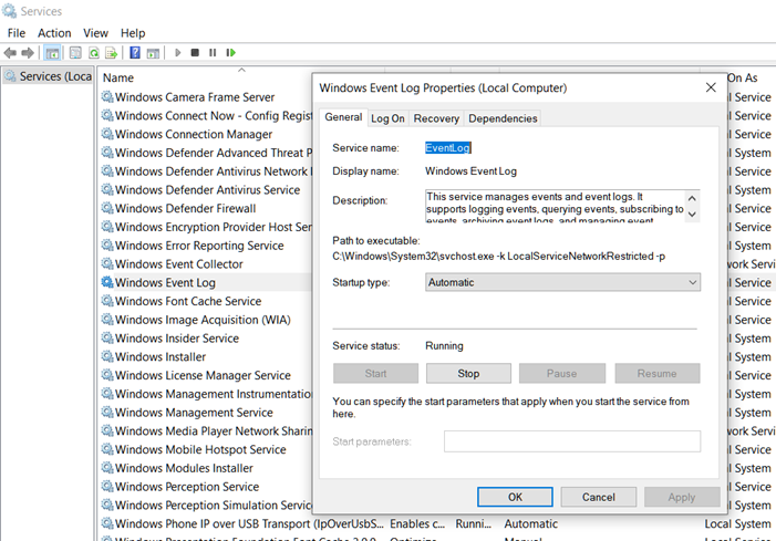 Event Viewer logs missing in Windows 10