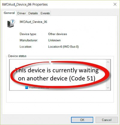 This device is currently waiting on another device (Code 51)