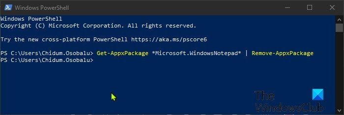 Uninstall Notepad via PowerShell