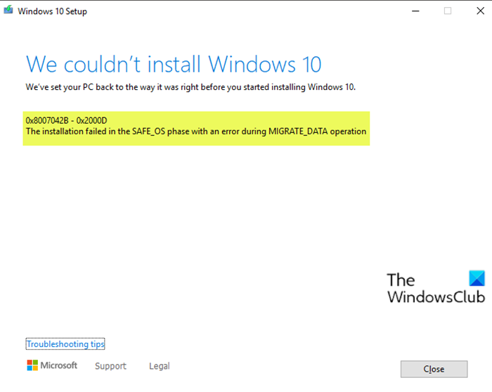Windows 10 upgrade install error 0x8007042B - 0x2000D
