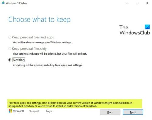 Your files, apps and settings can't be kept
