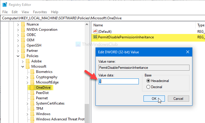 Allow OneDrive to disable Windows permission inheritance in Read-only folders
