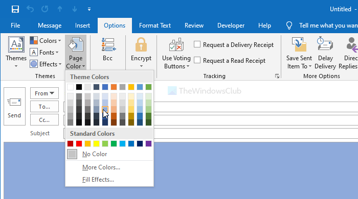 How to add or change background color and image in Outlook email