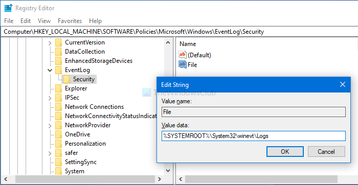 How to change the default Event Log file location in Windows 10