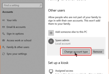 change user account type from settings