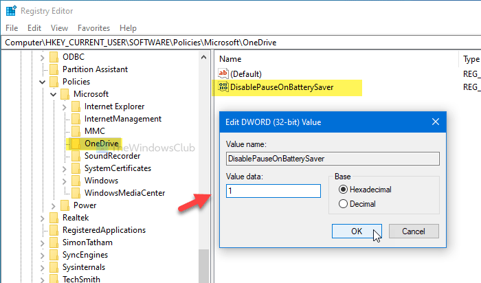 How to continue syncing OneDrive file when battery saver mode turned on