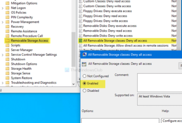 How to disable Removable Storage classes and access in Windows 10