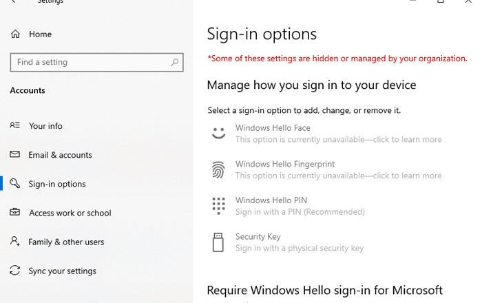 How to disable Sign-in options in Windows Settings