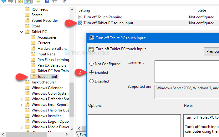 How to enable or disable Tablet PC touch input in Windows 10
